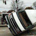van turned over on its side